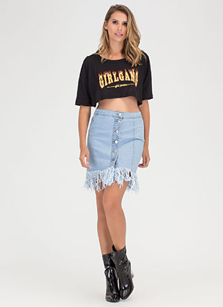 Fray Around Button-Up Denim Skirt