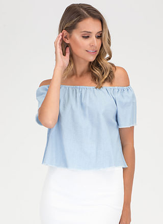 Fray Games Off-Shoulder Chambray Top