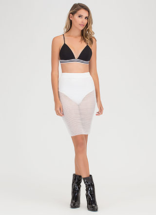 Sheer Happiness Fishnet Pencil Skirt