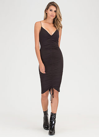 Pull An Attitude Ruched Midi Dress