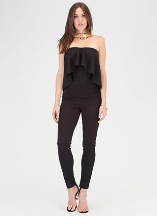 Posh Taste Ruffled Strapless Jumpsuit