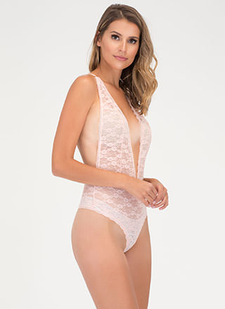 Chic Whisper Plunging Lace Bodysuit