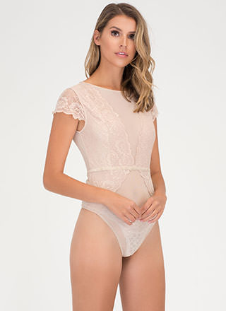 Sheer From Us Lace Mesh Bodysuit