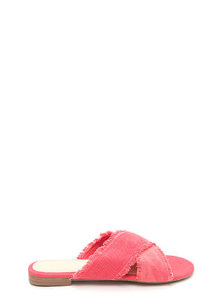 X Marks The Spot Canvas Slide Sandals
