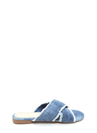 X Marks The Spot Denim Slide Sandals