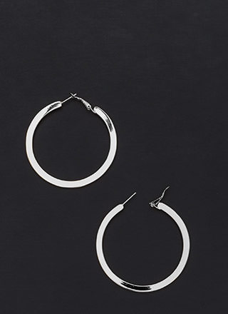 Flat Out Chic Shiny Hoop Earrings