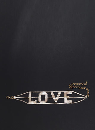 Love Wins Wide Rhinestone Choker