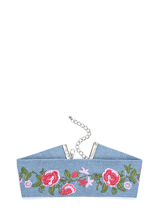 Get In Vine Extra Wide Denim Choker