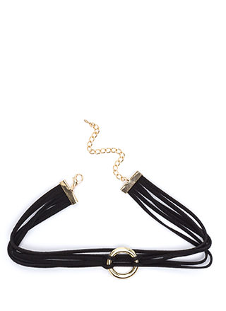 Ring It On Faux Suede Cord Choker
