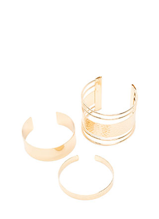 In Your Gleams Hammered Cuff Set