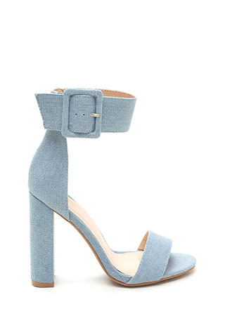Wide-Eyed Wonder Denim Chunky Heels