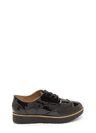 Lug Life Faux Patent Oxford Flats