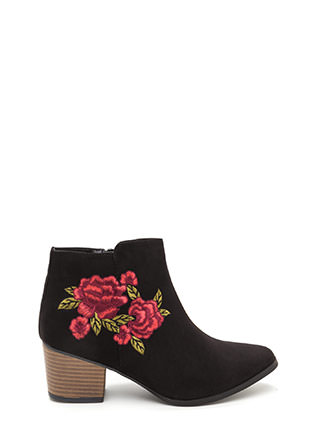 Silk Flowers Embroidered Booties