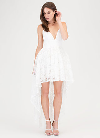 Lace Instinct High-Low Flared Dress