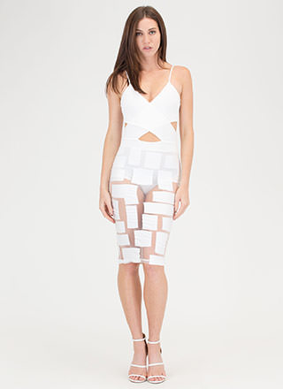 Box You In Geometric Mesh Dress