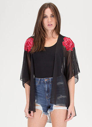 Flower On Your Sleeve Sheer Mesh Kimono