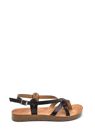 Strappy Attitude Faux Leather Sandals