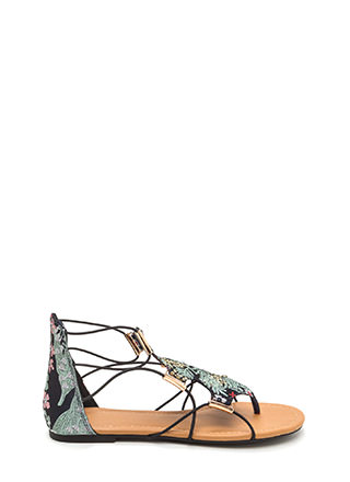Chic Moment Caged Embroidered Sandals