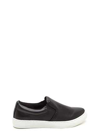 Tip To Toe Faux Leather Slip-On Sneakers