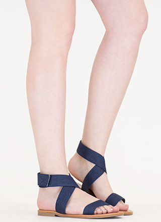 Cross My Mind Strappy Denim Sandals
