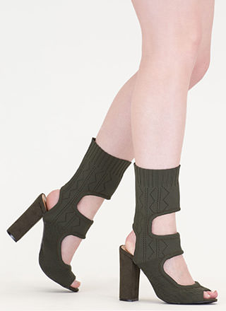 Knit Your Stride Cut-Out Chunky Booties