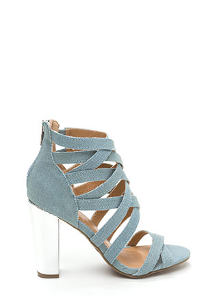 Casual Vibes Chunky Caged Denim Heels