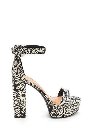 Lift Off Chunky Embroidered Heels