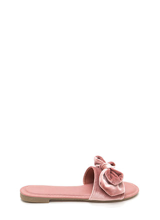 Bow A Long Way Velvet Slide Sandals