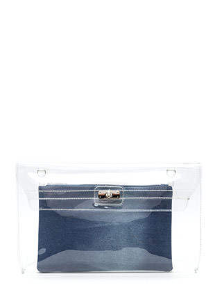 Transparent Motive Flat Denim Clutch