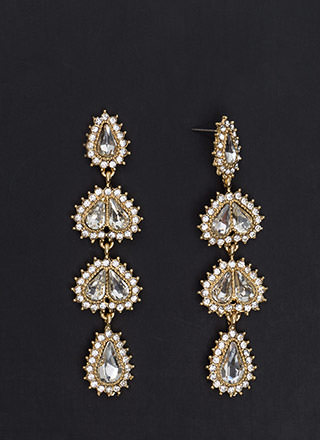 Fan Out Faux Jewel Drop Earrings
