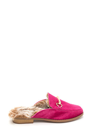 Luxe Lifestyle Furry Velvet Mule Flats