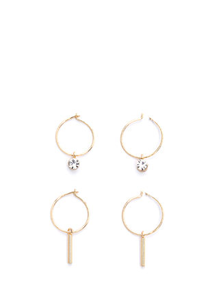 Sweet Side Charm Hoop Earring Set