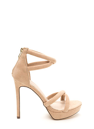 Double Cross Strappy Faux Suede Heels