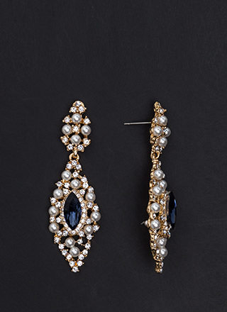 Precious Pearls Jeweled Almond Earrings