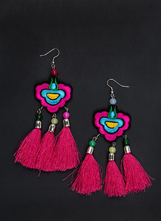 Bali Beach Embroidered Tassel Earrings