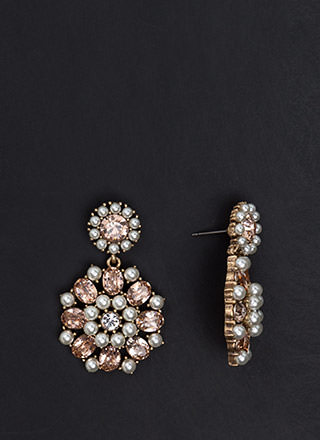 Precious Pearls Jeweled Round Earrings
