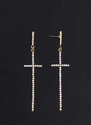 Cross Out Oversized Jeweled Earrings