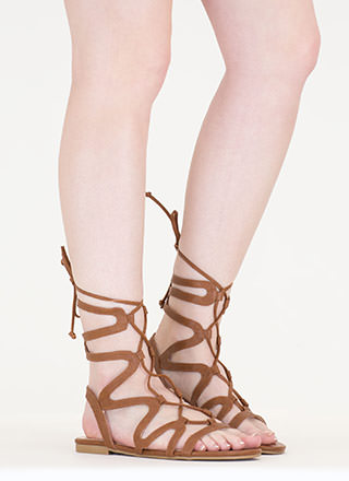Waving Hello Lace-Up Gladiator Sandals