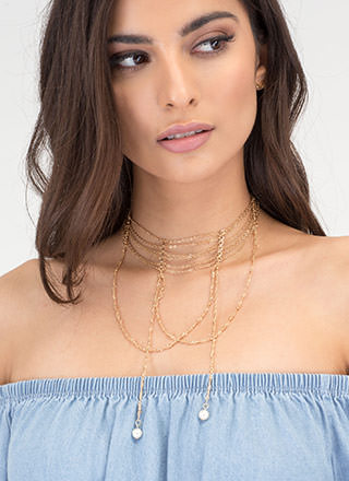 Fancy Evening Draped Necklace Set