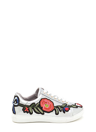 Sew Cute Metallic Flower Sneakers