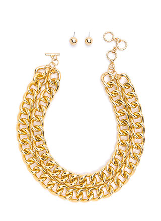 More To Love Double Chain Necklace Set