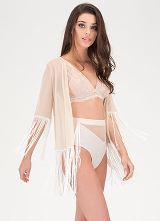 Sheer Goes Fringed Two-Piece Kimono Set