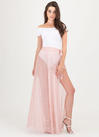 Pleats Don't Go Sheer Maxi Skirt