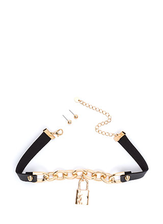 Lock Down Faux Leather Choker Set