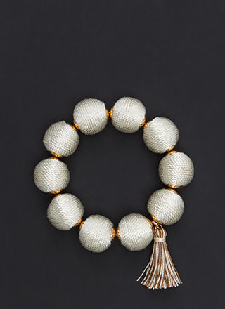 Ball Along Stretchy Tasseled Bracelet