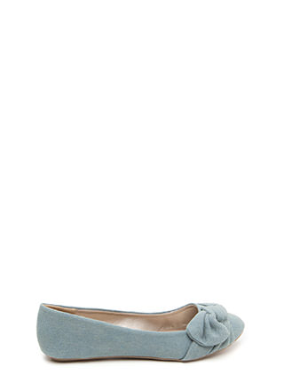 Knot Just Some Denim Ballet Flats