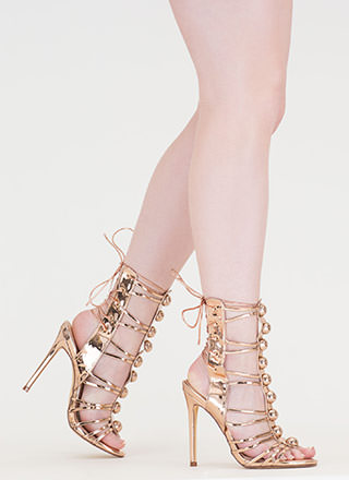Dome Town Metallic Laced Back Heels