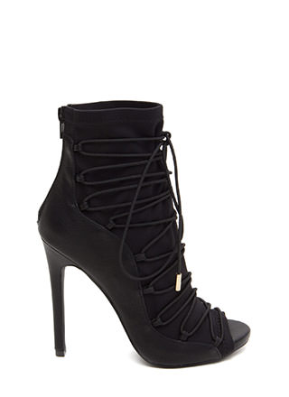 Waving Hi Peep-Toe Lace-Up Booties