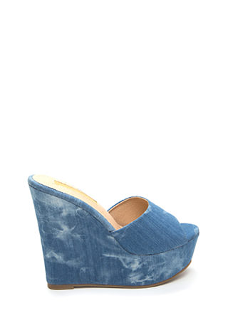 Easy Life Washed Denim Mule Wedges