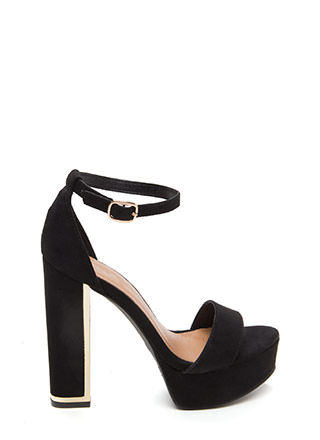 Gleam Up Chunky Faux Suede Heels